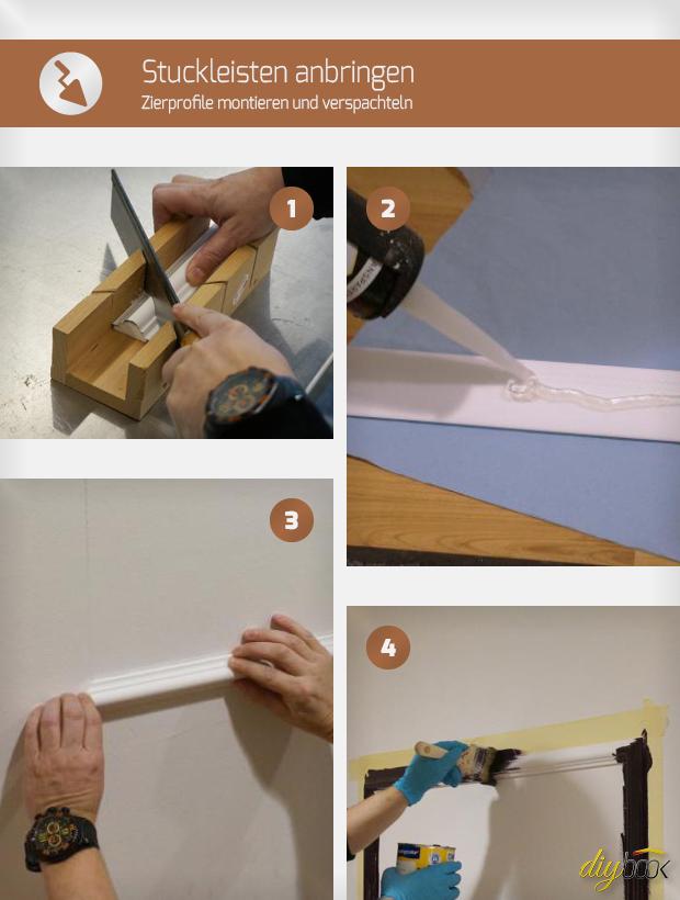 stuckleisten anbringen zierprofile montieren und. Black Bedroom Furniture Sets. Home Design Ideas