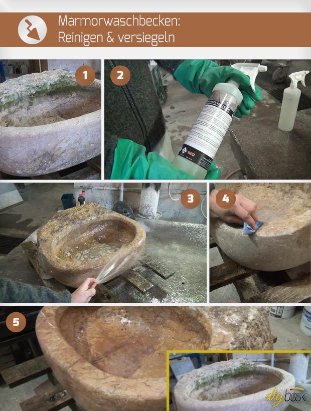 Marmor Waschbecken reinigen und versiegeln Anleitung