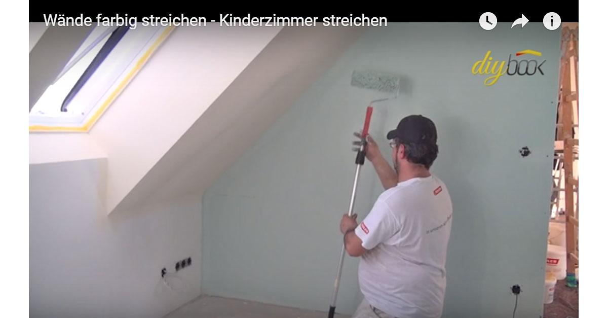 Kinderzimmer streichen - Wände farbig streichen | Video-Anleitung ...
