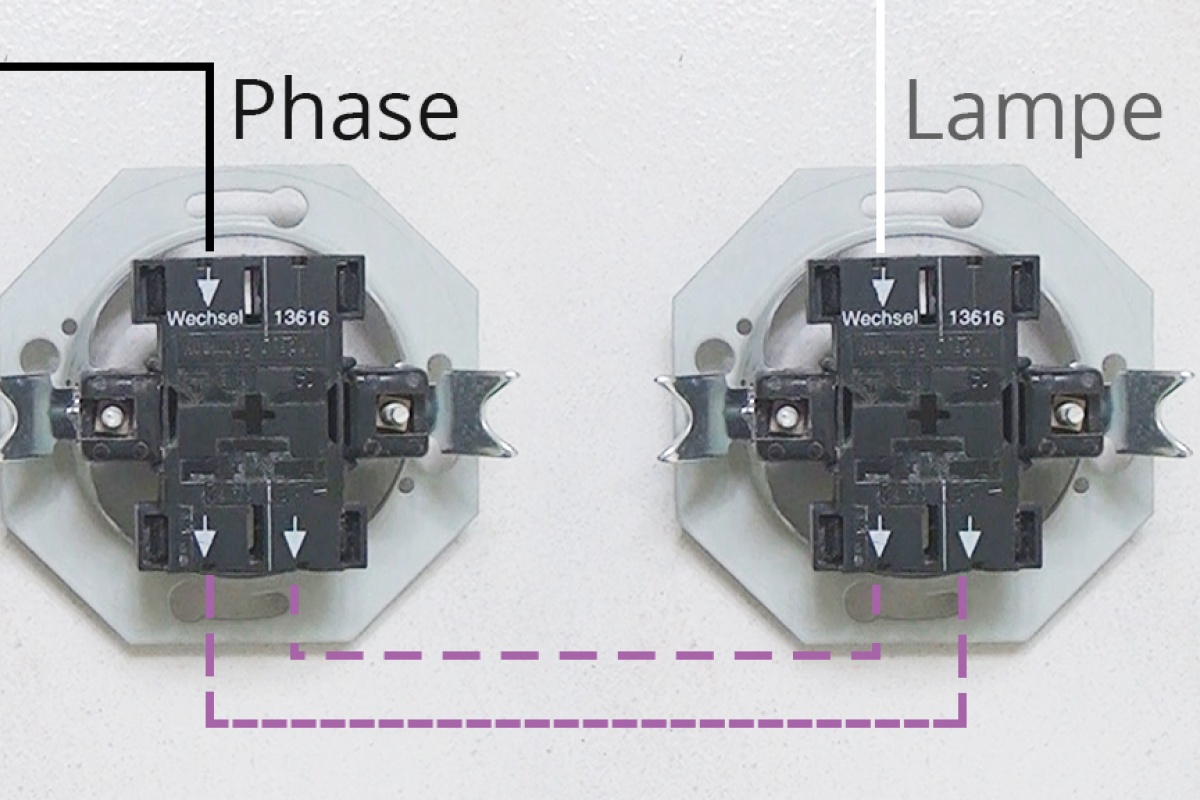 wechselschaltung schaltern anschließen bei 2 lampen