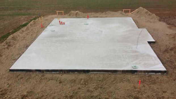 Bodenplatte vor dem Bau