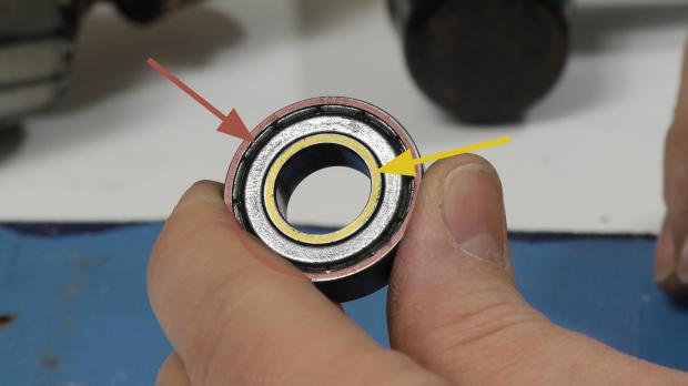 Innerer und äußerer Ring am Kugellager