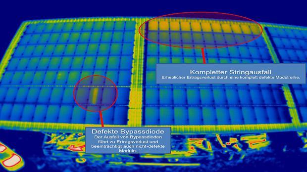 Defektes Solarpaneel in der Thermographie