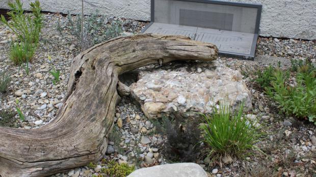 Beet verzieren mit Holz und Stein