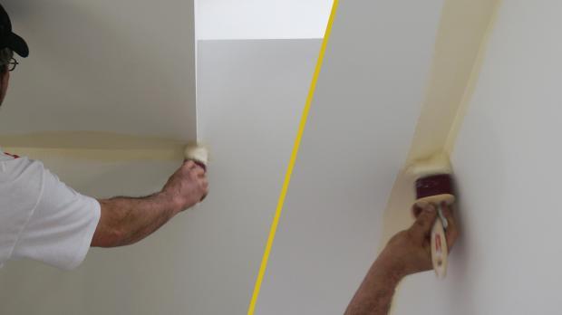 Ecken zu den Wänden hin vorstreichen