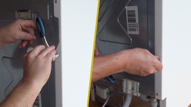 Rückwärtige Schrauben des Seitendeckels entfernen