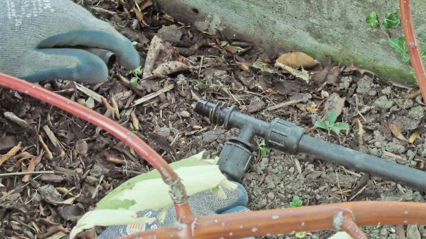T-Stück einsetzen, um Gartenbewässerung auszuweiten