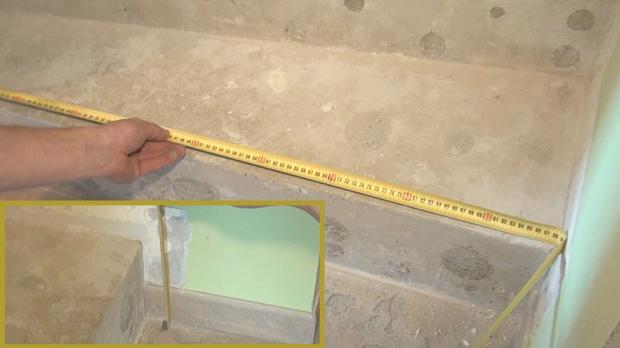 Länge und Höhe der Setzstufe abmessen