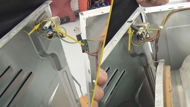 Stromanschluss mit der Geräterückwand verbinden