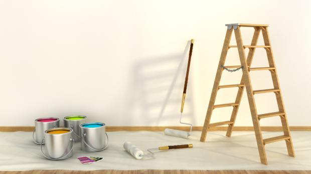 Farben Und Leiter Stehen Zum Streichen Bereit