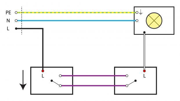 sparwechselschaltung mit 2 lampen