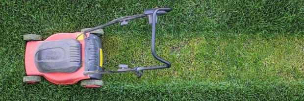 Testfahrt mit dem Rasenmäher