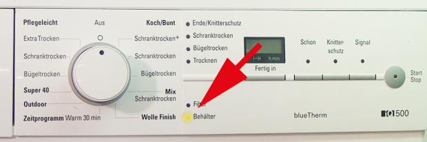 Siemens Wärmepumpentrockner: Behälter Leeren Blinkt
