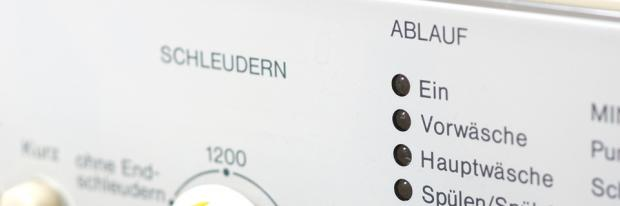 10 Gründe - Schleudern auf dem Bedienfeld einer Waschmaschine