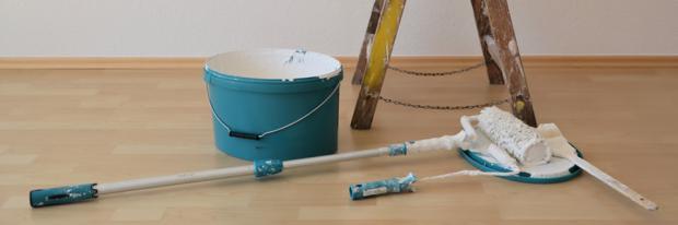 Malerwalze Farbeimer Und Leiter Liegen Zum Streichen Bereit