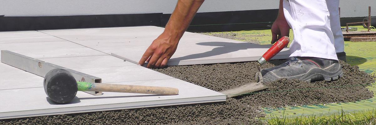 Terrassenplatten Richtig Verlegen Mit Drainmörtel Und Klebemörtel