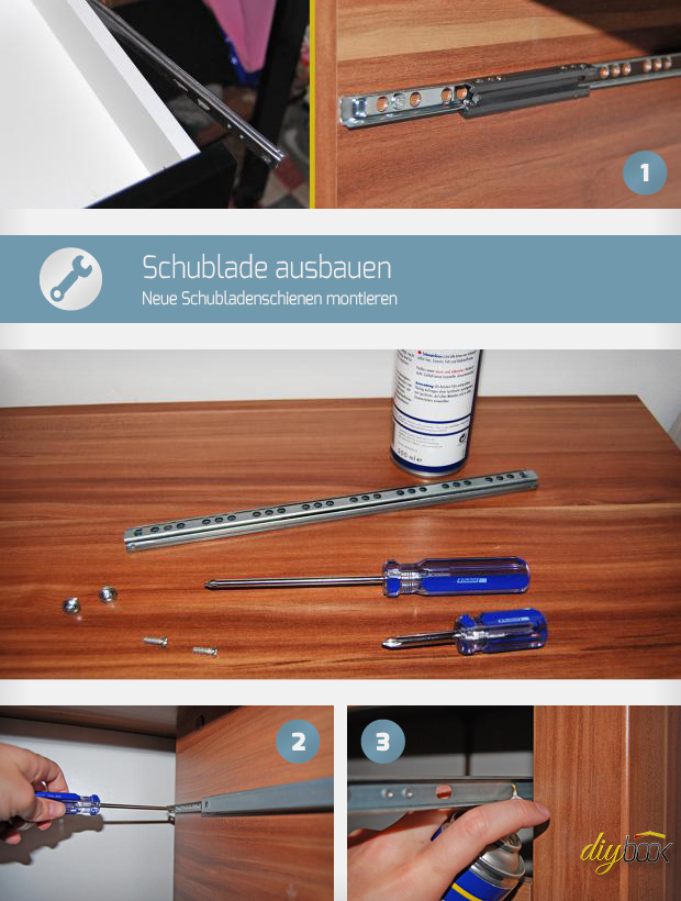 schublade ausbauen neue schubladenschienen montieren. Black Bedroom Furniture Sets. Home Design Ideas